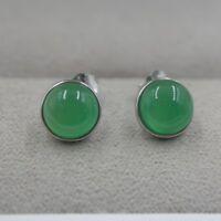 Solid 925 Sterling Silver Stud Earrings Natural Green Chalcedony Round Earrings