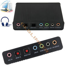 PC External USB 6 Channels 5.1 Sound Card Adapter SPDIF Optical Audio Converter