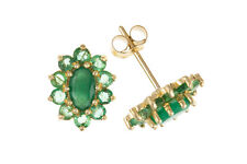 Emerald Earrings Solid Gold Studs 9 Carat Cluster Stud Natural Stones