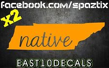 (2) Tennessee native ut vols volunteers  7'' vinyl car sticker window decal
