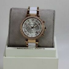 NEW AUTHENTIC MICHAEL KORS PARKER ROSE GOLD WHITE CRYSTALS WOMEN'S MK5774 WATCH