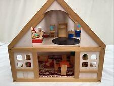 Kids Small Wooden Dolls House & Furniture Plus 4 Dolls