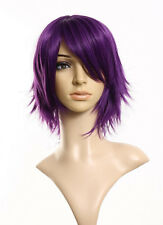 Dark Purple Fashion Women Short Layer Straight Full Wig Party Cosplay Costumn