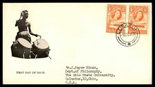 LOBATSI BECHUANALAND PROTECTORATE 4d ISSUE PAIR 1950s CACHET ON SEALED FDC
