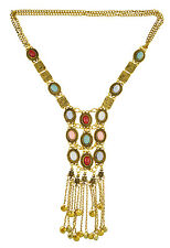Women Boho Silver Gold Plated Chain Turquoise Bead Long Tassel Pendant Necklace