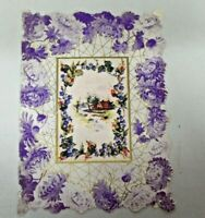 Vintage 1906 Die Cut Floral Embellished Valentine Greeting Card Purple Flowers