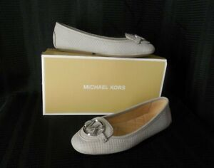 MICHAEL KORS Flats Moccasin 6 gray embossed Leather LILLIE NEW