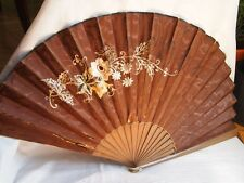 Antique Hand Fan Wooden Embroidery W/ Flowers Brown Fabric Original Box Harrods
