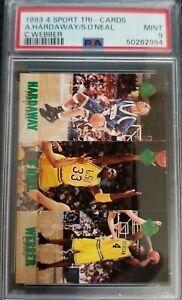 1993 Classic 4-Sport Tri-cards Shaquille O'Neal Hardaway Webber PSA 9