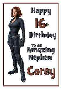 Black Widow Avengers personalised A5 birthday card son brother sister name age