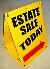 """ESTATE SALE """"TODAY"""" WITH ARROW Sandwich Board Sign 2-sided Kit NEW yellow"""