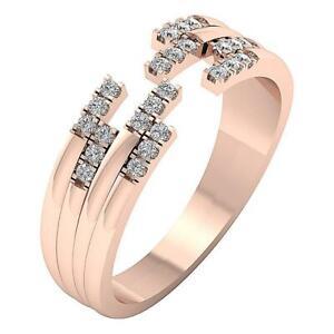 14k Rose Gold Designer Ring SI1 G 0.30 Ct Round Cut Diamond RS 4-12 6.20 mm