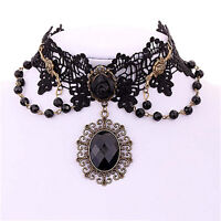 Lolita Gothic Black Rose Flower Lace Choker Collar Necklace Beads Chain Fad.