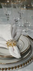 100 SET GOLD DINING WARE PLATES GLASSES GOLD CUTLERY NAPKINS HIRE GOLD RIM GLASS