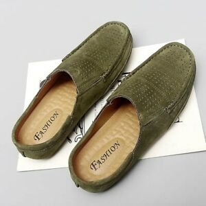 Mens Round Toe Hollow Out Mesh Breathable Half Slippers Suede Flats Mules Shoes