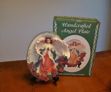 """New Handcrafted Oval Angel Roses Plaque Plate 6"""" X 8"""" Wall Hanging Stand"""