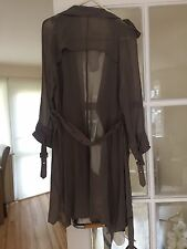 Mint Velvet Taupe Grey Silk Sheer Trench Cover Up Jacket Coat 12