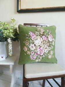 Vintage Green Floral Cushion 45cm x40cm original feather inner Classic Vintage