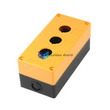 22mm diámetro 3 agujero pulsador estación de control Caja de Interruptor Caso Amarillo Negro