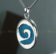 Nice 925 Sterling Silver Magic Legend Hearthstone Necklace Pendant black rope