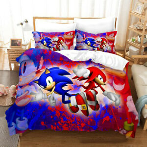Sonic The Hedgehog Style 3D Duvet Single/Double/Queen/King Bed Quilt Cover Set E