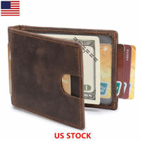 Mens Money Clip Wallet Leather RFID Bifold Credit Card Holder Purses Brown K657