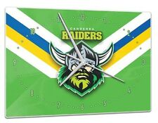 Canberra Raiders NRL Glass Clock Pool Dart Room Man Cave Birthday Christmas Gift