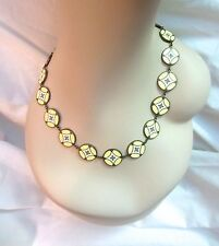 Vintage Lee Angel Disk Strand Necklace Yellow White Gray Enamel Geometric Signed