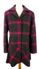 M&S Size 14 Pink Mix Dark Grey New Wool Coat Checked Flared