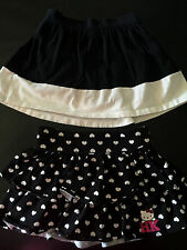 2 girls SKIRTS LOT hello kitty hearts BLACK WHITE COTTON ruffle casual SIZE 4/5
