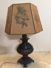 "Antique Parker Table Metal Lamp Converted Electric Oil Lamp w/Shade, 27"" Tall"