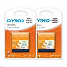 6PK (VARIETY PACKS) Dymo Letra Tag Refill Tapes for LetraTag LT-100 Label Makers