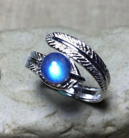 Women Fashion Natural Blue Moonstone Wedding Ring 925 Sterling Silver Gifts