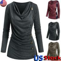 Women Casual Long Sleeve Jumper Tops Ladies V Neck Pleated Button T-Shirt Blouse