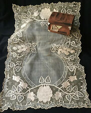 Wide Antique Lace Hand Embroidered Needle Lace Dresser Dollie Tray Placement