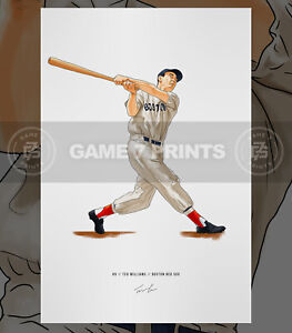 Ted Williams Boston Red Sox Illustrated Baseball Print Poster Art