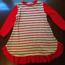 Gabiano Girl's 12 Month Christmas Nightgown Knit Sleepwear Red Green Ruffle EUC