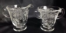 Vintage 1935-59 Fostoria Corsage Clear Glass Creamer & Open Sugar Etched Glass