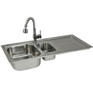 Reversible Kitchen Sink Stainless Steel 1.5 Bowl Pull Out Mixer Tap & Waste Kit