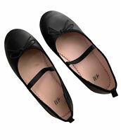 H&M Girl's Black Matte Ballet Flats Shoes Size 1 Bows PU Leather School-Dress up