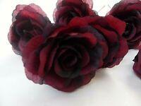 6 x wine/claret FAUX SILK ROSE FLOWERS (NOT FOAM)BRIDAL/CRAFT/BUTTONHOLE/BOUQUET