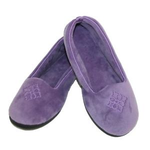 Smokey Purple Lavender Velor Satin Dearfoam Classic Slippers Ladies NEW