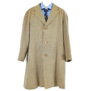 Aquascutum England Men's Long Overcoat Jacket Wool Brown Sz Chest 44 Inches JA17