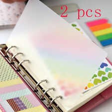 2PCS PP Notebook Paging Separator Notebook Case Plastic Ring Binder Refillable