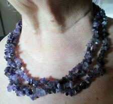 Superbe ancien Collier 3 rangs perles améthyste naturelles bijou vintage 2650