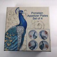 Porcelain Peacock Appetizer Plates Set 4 Made For Cracker Barrel Original Box
