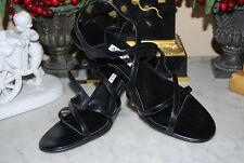 ALFANI BLACK LEATHER STRAPPY SLING BACK HIGH HEEL WOMEN'S SANDAL SHOES SIZE 8 M