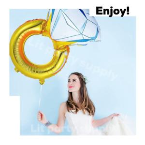 "43"" Huge Diamond Engagement Ring Balloon Wedding Bridal Bachelorette Gold Foil"