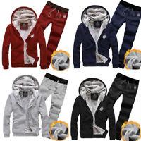 New Winter Men Velvet Tracksuits 2PCs Suit Thick Hooded Jackets Coat Pants Set