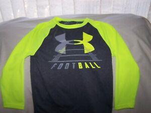 Boys Under Armour Gray/NEON Green Long Sleeve FOOTBALL BIG LOGO Shirt Size 5
